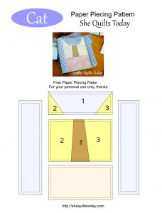Cat Free paper piecing pattern