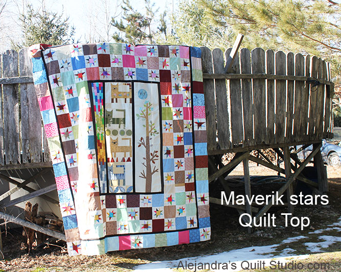 Maverick stars quilt top