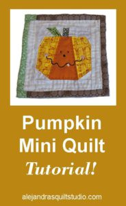 Mini Quilt Tutorial - Pumpkin ( FREE Pattern)