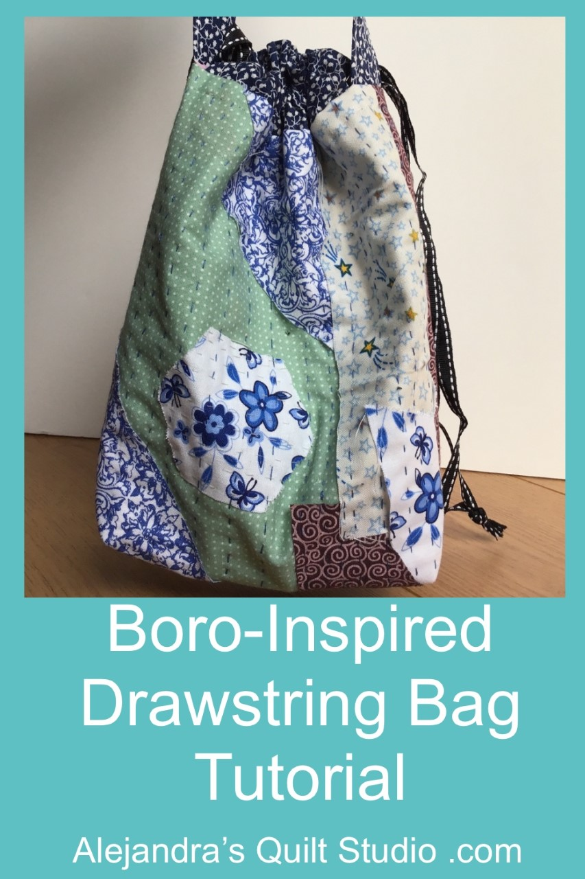 Boro-Inspired Drawstring Bag